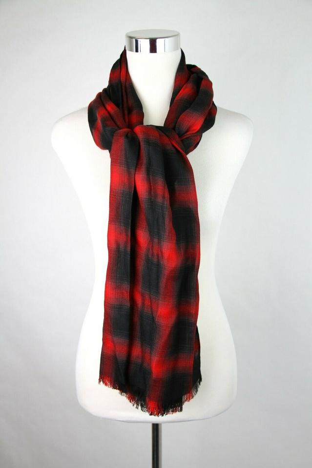 bac1bb13305 Saint Laurent Red/Black Red/Black Plaid Wool Cashmere Silk 458639 1074  Scarf/Wrap 65% off retail