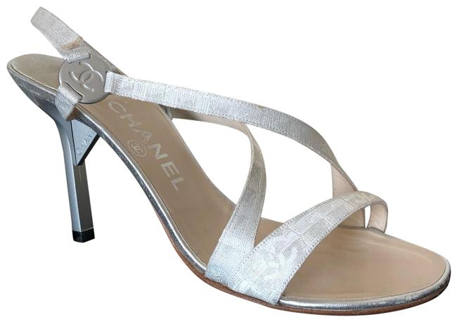 Item - White with A Silverfish Design White/Silver Dressy Sandals Size EU 38.5 (Approx. US 8.5) Regular (M, B)