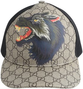b74483e4 Gucci Gucci Men's Black Wolf Printed Gg Supreme Baseball Hat