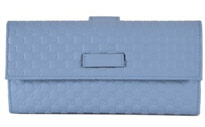 Gucci New Gucci 449393 Mineral Blue Leather Micro GG Continental Wallet