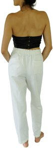 Giada Forte Linen Tie Around Pleated Relaxed Pants White