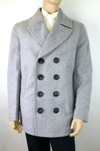Burberry Grey L Mens London Melange Wool Cashmere Pea Coat 1 Vent 4016095 Groomsman Gift