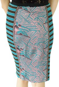Fuzzi Ribbed Bright Stretchy Skirt Teal Black Pink