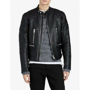Burberry Black London Leather Diamond Quilted Biker Jacket 50 Eu/40 Us 4067591 Groomsman Gift