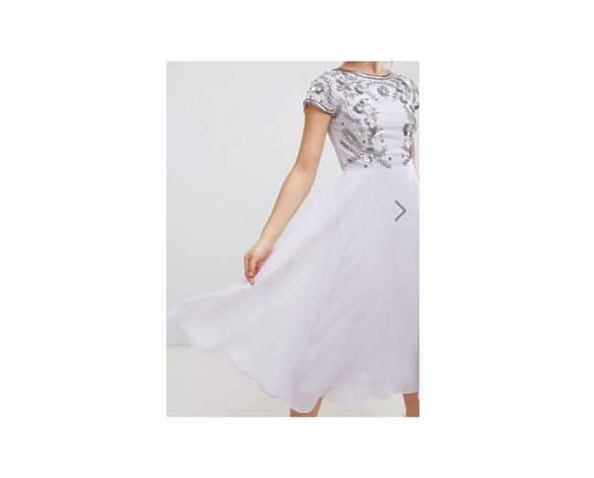 Item - Lilac Frock & Frill Capped Sleeve Midi with Embellished Detail Us Short Cocktail Dress Size 4 (S)