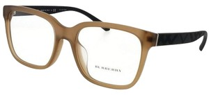 Burberry BE2262F-3701-55 Square Unisex Brown Frame Clear Lens Eyeglasses