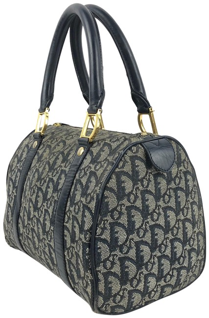 Item - Christian Boston D Buckle Navy Blue and Grey Canvas Tote