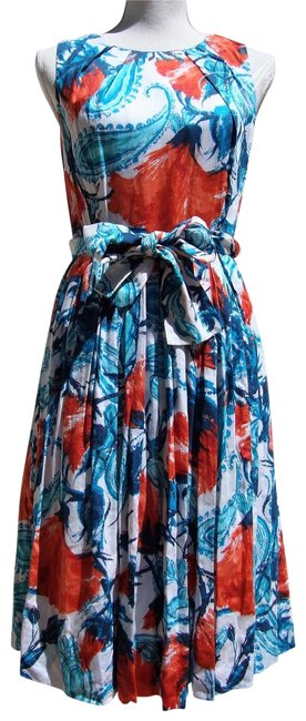 Item - Red Blue White Printed Cotton Vintage-inspired A-line Sleeveless Mid-length Cocktail Dress Size 4 (S)