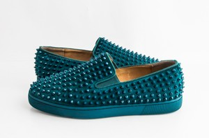 Christian Louboutin Green Roller Boat Flat Spikes Sneakers Shoes