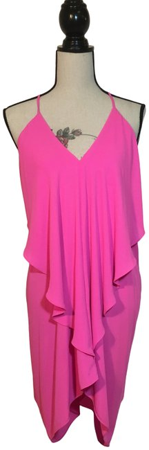 Item - Neon Pink Drape Front Party Short Night Out Dress Size 12 (L)