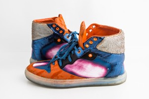 Balenciaga Orange Panelled High-top Sneakers Shoes