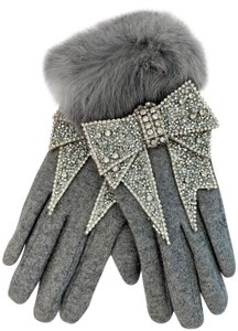Couture Studio REAL GRAY FUR & CASHMERE WOOL GLOVES WITH HUGE RHINESTONE JEWELED BOW
