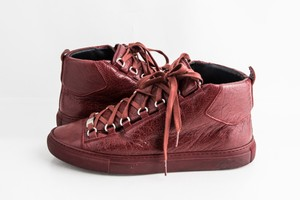 Balenciaga Red Burgundy Arena High-top Sneakers Shoes