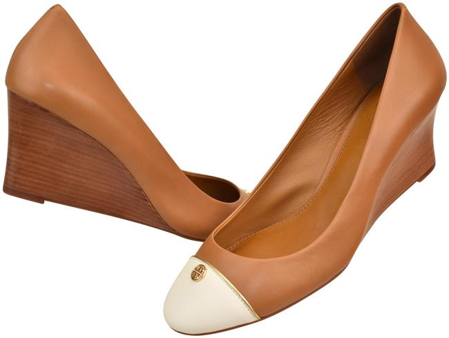 Item - Brown Tan Ivory Leather Tiffy Cup-toe Gold Reva Wedge Pumps Size US 10.5 Regular (M, B)