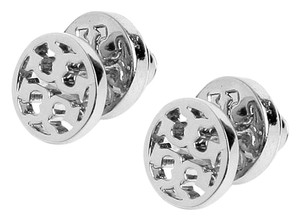 Tory Burch Silver Small Circle Logo Studs Earrings