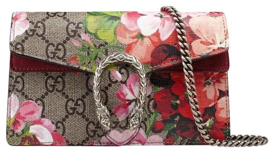 b8d37ba8a GUCCI. DIONYSUS SUPER MINI GG BLOOM RED AND MULTICOLOR LEATHER CANVAS CROSS  BODY BAG