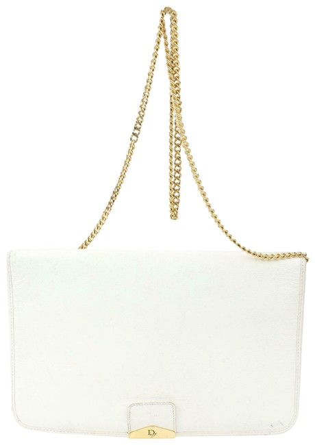 Item - Two-way Purses White Leather and Grey Honeycomb Print On White Leather Shoulder Bag
