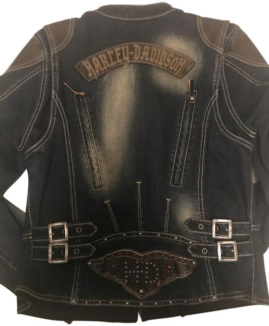 Item - Blue Jean and Leather Genuine Motor Clothes Riding Gear Jacket Size 8 (M)