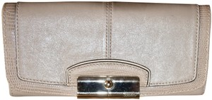Coach Coach Embossed Leather Taupe Gray Envelope Wallet