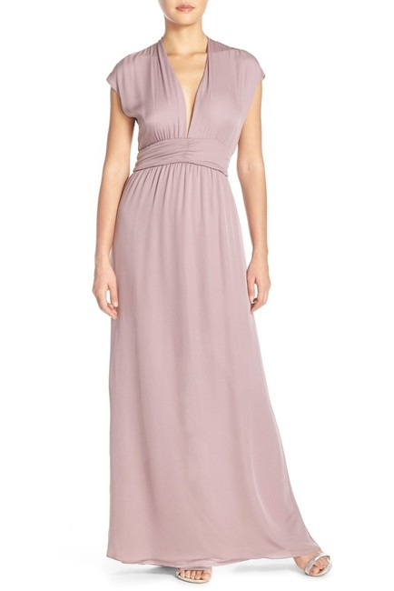 Item - Purple Maid By Shirred Waist Silk Plunge Neck Georgette Gown Long Cocktail Dress Size 14 (L)