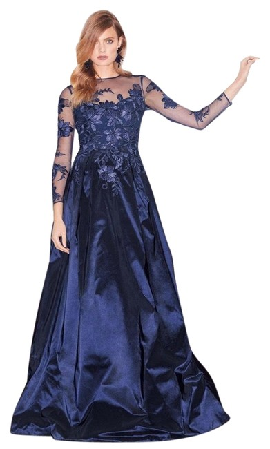 Item - Blue Long-sleeve Illusion Lace Taffeta Gown Long Formal Dress Size 6 (S)