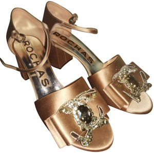 Rochas Peach metallic paved stones Sandals