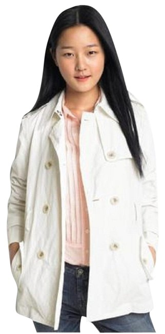 Item - Beige Short Crinkle Double Breasted Coat Size 2 (XS)