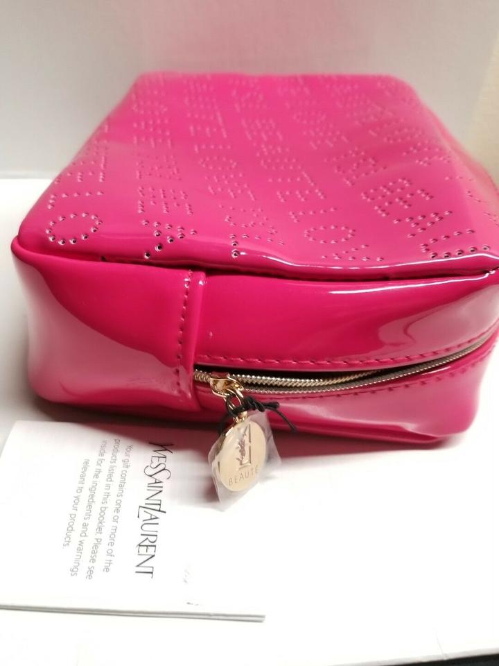 Saint Laurent Pink Ysl Yves Faux Leather Makeup Case New