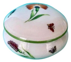 "Tiffany & Co. Limoges France ""Garden"" Porcelain Trinket Box with Flowers & Butterfly"