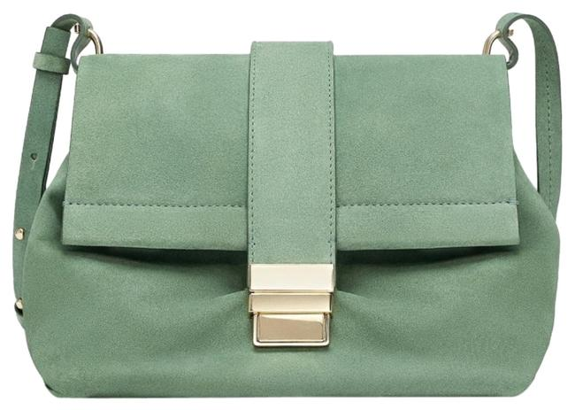 Item - Split Citybag with Metal Sea Green Suede Leather Cross Body Bag