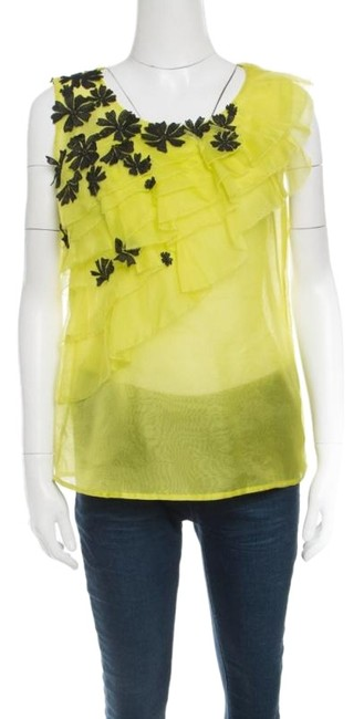 Oscar de la Renta Floral Applique Detail Silk Top Green Image 0
