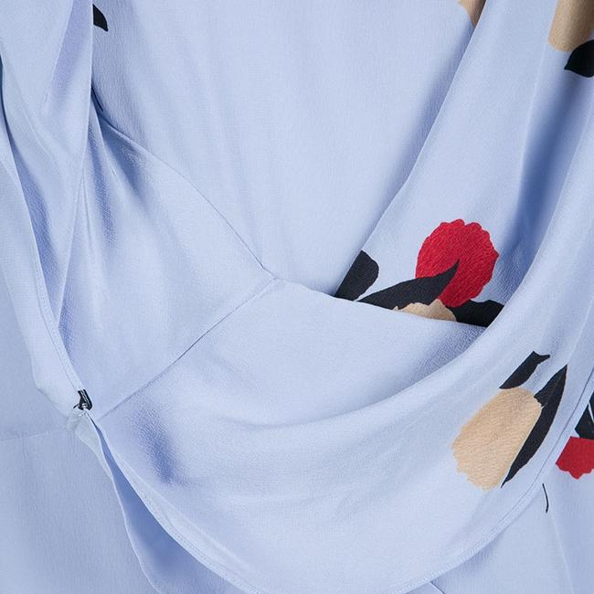 Marni Floral Silk Draped Top Blue Image 3