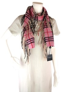 Burberry NWT Authentic Burberry London Cashmere Pink Nova Check Fringe Scarf