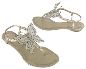 Rene Caovilla Sparkly Butterfly Thong Gold Sandals