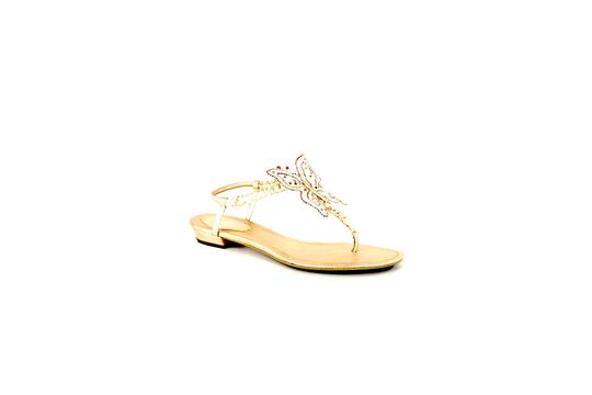 Rene Caovilla Sparkly Butterfly Thong Gold Sandals Image 1