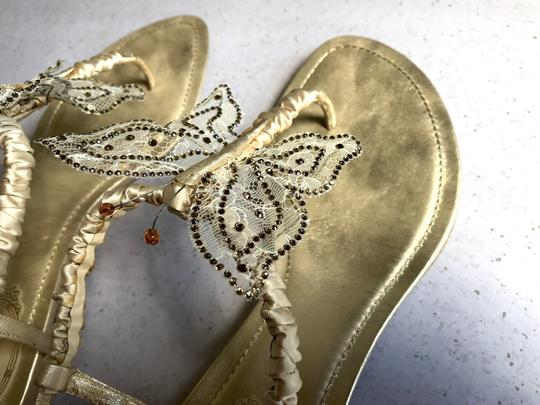Rene Caovilla Sparkly Butterfly Thong Gold Sandals Image 2