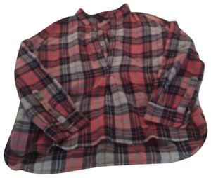 J.Crew Button Down Shirt pink, navy, green, and white plaid