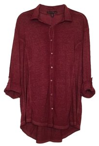French Laundry Crystal Buttons Bling Plus Size Soft Button Down Shirt red