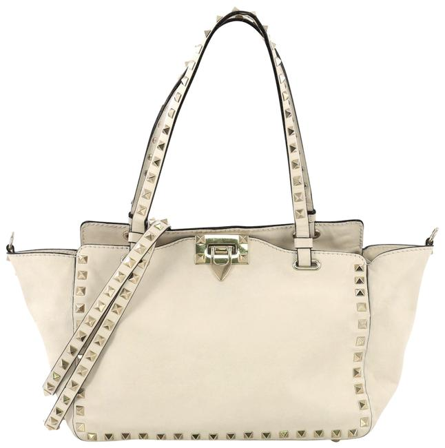 Item - Rockstud Soft Small Off White Leather Tote