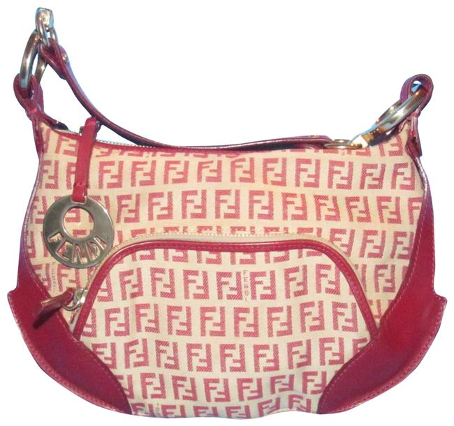 Item - 'chef' Shoulder Purse Red Zucchino Print On Tan Leather and Canvas Hobo Bag