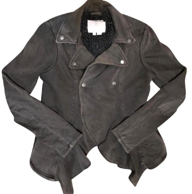 Anthropologie Fleece Lining Snap Closure Zip Super Soft + Comfy By Hei Hei Motorcycle Jacket Image 5
