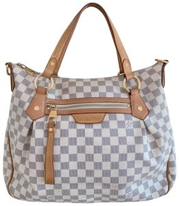 Louis Vuitton Lv Evora Damier Azur Canvas Mm Satchel in White