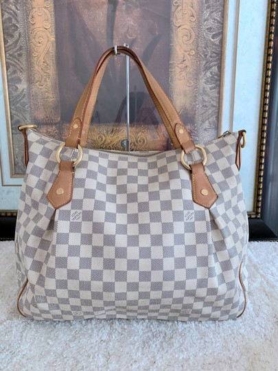 Louis Vuitton Lv Evora Damier Azur Canvas Mm Satchel in White Image 1