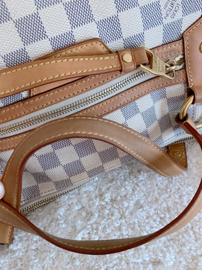 Louis Vuitton Lv Evora Damier Azur Canvas Mm Satchel in White Image 8