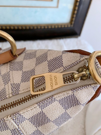 Louis Vuitton Lv Evora Damier Azur Canvas Mm Satchel in White Image 9
