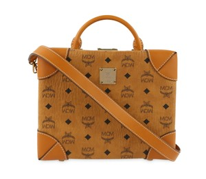 MCM Visetos Monogram Crossbody Satchel in Brown