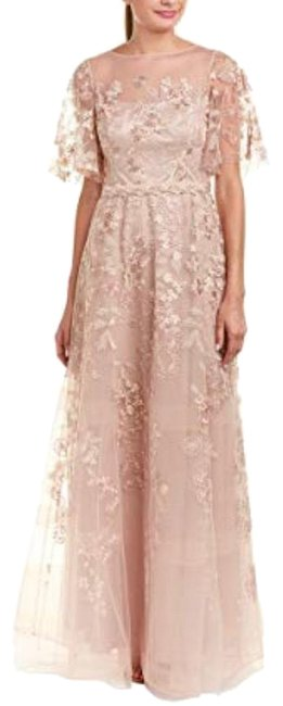 Item - Blush Embroidered Lace Bell Sleeve Evening Gown Long Formal Dress Size 2 (XS)