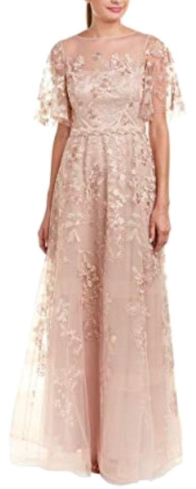 Teri Jon Blush Embroidered Lace Bell Sleeve Evening Gown Long Formal Dress Size 2 Xs 62 Off Retail