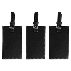 Leeman Leather Luggage Tag - Leeman Ilani Cowhide, Buckle Strap - Lot of 3.