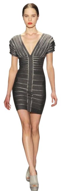 Item - Grey And Silver Bandage Limited Edition 47431399 Short Cocktail Dress Size 2 (XS)